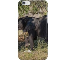 Baby elephant appearing to dance down slope iPhone Case/Skin