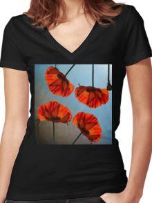 Poppy design Women's Fitted V-Neck T-Shirt