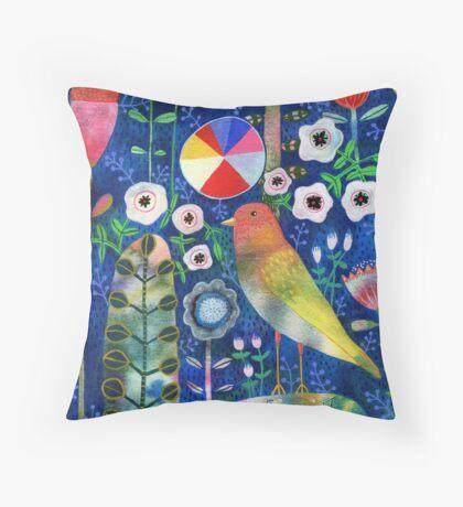 Color Wheel Bird Throw Pillow