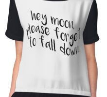 Hey Moon, Please Forget To Fall Down (White) Chiffon Top