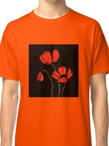 Red Poppies On Black by Sharon Cummings Classic T-Shirt