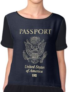 USA Vintage Passport Chiffon Top