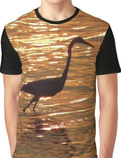 Egret Sunset Graphic T-Shirt