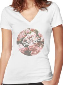 The Strokes - Floral Women's Fitted V-Neck T-Shirt
