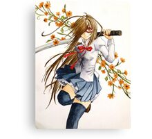 Sword and Flowers Canvas Print