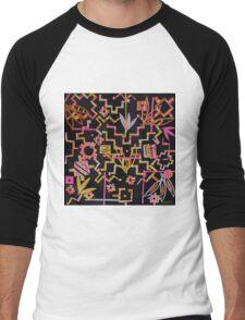 Black, Yellow, Pink Chakana Mash-up Men's Baseball ¾ T-Shirt