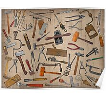 Vintage Tools. Good Old Days. Collage. Poster
