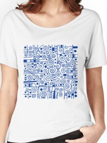 Abstract 040512 - Navy Blue on White Women's Relaxed Fit T-Shirt