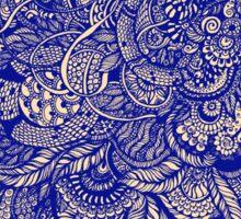 Hand drawing purple and yellow zentangle pattern Sticker