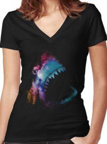 Space Shark Women's Fitted V-Neck T-Shirt
