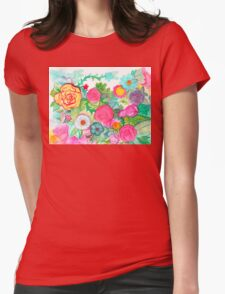 Neon Garden: Bright and Blooming Womens Fitted T-Shirt