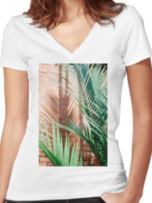 shadow and leafs Women's Fitted V-Neck T-Shirt