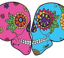 Kissing Sugar Skulls Day of the Dead Romance by Candace Byington
