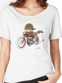 MOTORCYCLE EXCELSIOR STYLE (RED BIKE) Women's Relaxed Fit T-Shirt