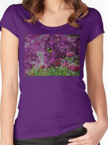 Cat Among the Flowers Women's Fitted Scoop T-Shirt