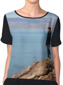 Adventure / Hike , Mountain on Antelope Island, Utah Chiffon Top