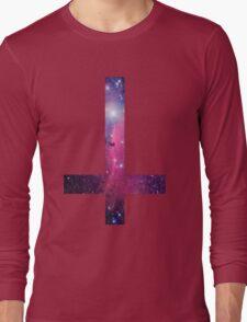 Purple Galaxy Inverted Cross Long Sleeve T-Shirt