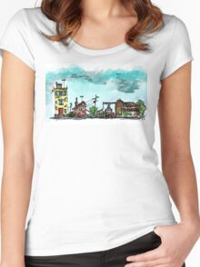 Urban Sketching Doodle 01 Women's Fitted Scoop T-Shirt