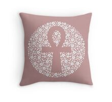 Floral Ankh Throw Pillow