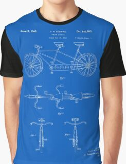 Tandem Bicycle Patent - Blueprint Graphic T-Shirt