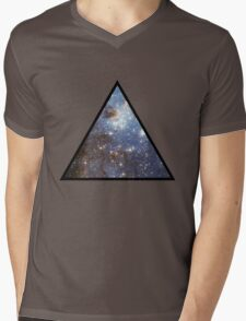Blue Galaxy Triangle Mens V-Neck T-Shirt