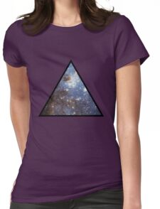 Blue Galaxy Triangle Womens Fitted T-Shirt
