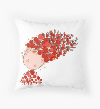 Doodle flowers beautiful girl face Throw Pillow