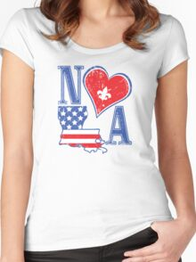 I Heart NOLA (Red White & Blue) Women's Fitted Scoop T-Shirt