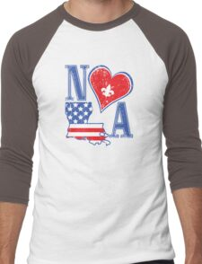 I Heart NOLA (Red White & Blue) Men's Baseball ¾ T-Shirt