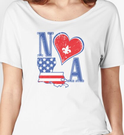 I Heart NOLA (Red White & Blue) Women's Relaxed Fit T-Shirt