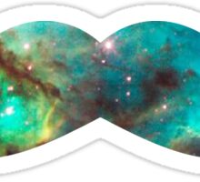Green Galaxy Mustache Sticker