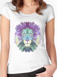 Colorful Abstract Lion Women's Fitted Scoop T-Shirt