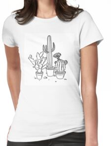 Hand Drawn Cacti Womens Fitted T-Shirt