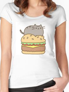 Pusheen and Burger Women's Fitted Scoop T-Shirt