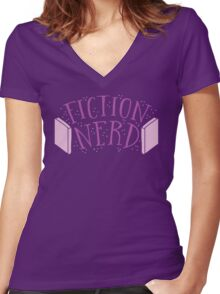 FICTION NERD with books Women's Fitted V-Neck T-Shirt