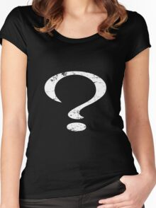 Distressed Question Mark Women's Fitted Scoop T-Shirt