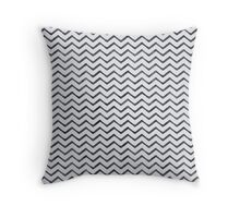 Black Watercolor Zig-Zag Canvas Pattern Throw Pillow