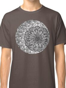 Shades of Grey - mono floral doodle Classic T-Shirt