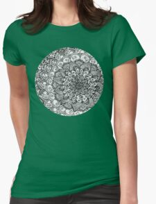 Shades of Grey - mono floral doodle Womens Fitted T-Shirt