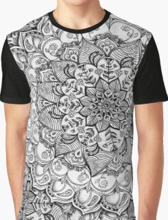 Shades of Grey - mono floral doodle Graphic T-Shirt