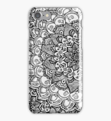 Shades of Grey - mono floral doodle iPhone Case/Skin