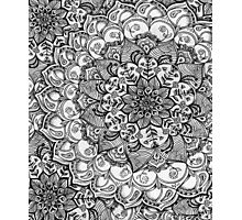 Shades of Grey - mono floral doodle Photographic Print