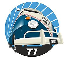 VW Type 2 Transporter T1 blue Photographic Print