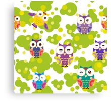 Colourful owls Canvas Print