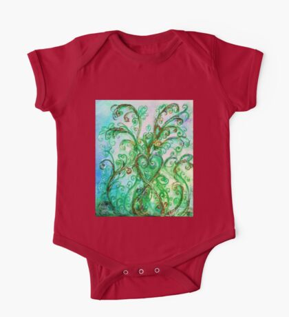 GREEN HEART WITH  WHIMSICAL FLOURISHES One Piece - Short Sleeve