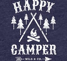 Happy Camper distressed white Tri-blend T-Shirt