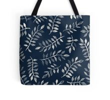 White Leaves on Navy - a hand painted pattern Tote Bag