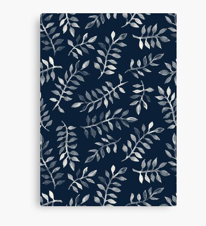 White Leaves on Navy - a hand painted pattern Canvas Print
