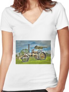 Fowler T3 Road Roller Women's Fitted V-Neck T-Shirt