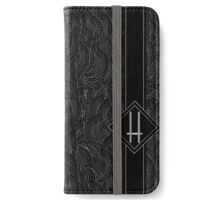 1920s Jazz Deco Swing Monogram black & silver letter H iPhone Wallet/Case/Skin
